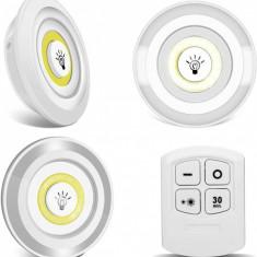 Set 3 spoturi cu lumina led multifunctionale cu telecomanda - 3LEDREMOTE
