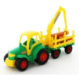 Tractor cu remorca lemne - Champion, 68x22x26 cm, Polesie