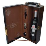 Cumpara ieftin Cutie cadou tip cufar pentru vin, model Premium cu maner si accesorii incluse, negru