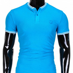 Tricou pentru barbati stil tunica turcoaz simplu slim fit casual S843