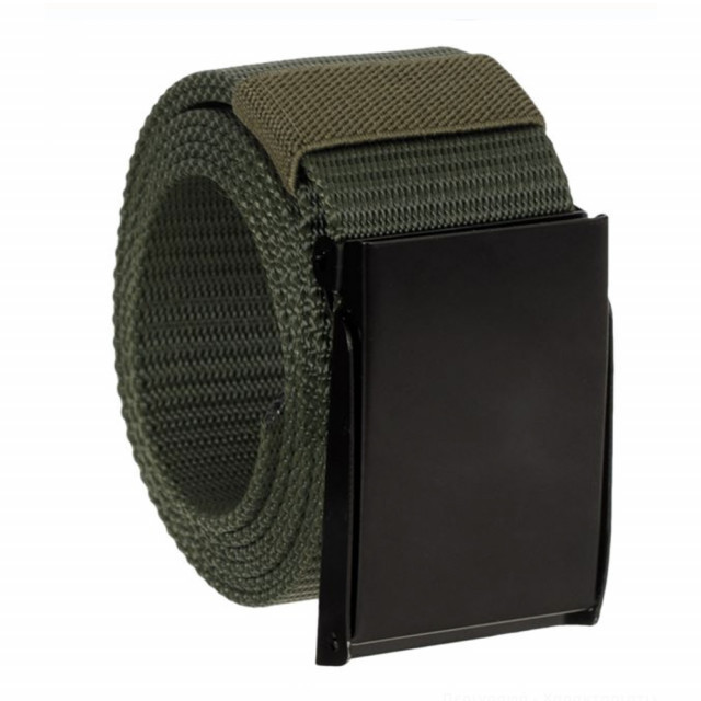 Curea centura Pufo Army Style pentru barbati 3,8 x 120 cm, reglabila, verde