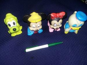 Jucarii cauciuc Vintage,Figurine,2 Mickey mouse,Pluto,Ratusca Donald,T.GRATUIT