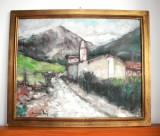Peisaj montan - pictura originala ulei pe placaj postimpresionism semnat 56x46cm, Peisaje, Impresionism