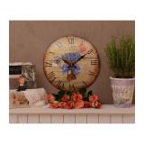 Ceas mare vintage cu un buchet de flori MHC028