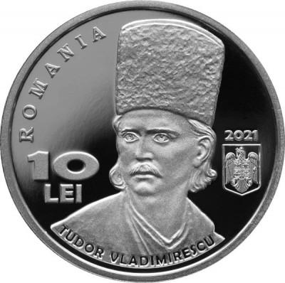 ROMANIA 2021 -10 LEI Argint -Tudor Vladimirescu-200 ani Revolutia din 1821 Proof foto