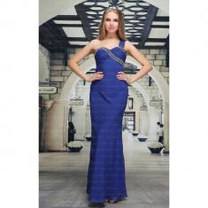 Rochie de ocazie, lunga, de culoare albastra, L, Albastru