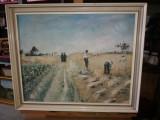 Tablou ulei pe panza  - La secera, Peisaje, Realism