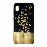 Cumpara ieftin Carcasa Husa Samsung Galaxy A10 model Gold Butterflies , Antisoc + Folie sticla securizata Samsung Galaxy A10 Tempered Glass Viceversa