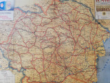 Harta uriasa Romania Mare,1935,turistica administrativa,80x100 cm,caserata