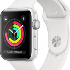 Smartwatch Apple Watch 3, AMOLED Capacitive touchscreen 1.65inch, Bluetooth, Wi-Fi, Bratara Silicon 42mm, Carcasa Aluminiu, Rezistent la apa si praf (
