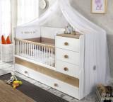 Patut transformabil din pal cu sertar, pentru bebe Natura Baby White / Nature, 180 x 80 cm