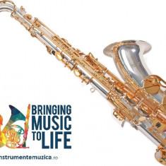 Tenor Saxofon ARGINTIU+AURIU curbat Nou Karl Glaser Sax Saxophone Si b
