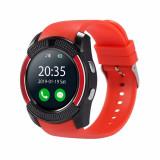 Ceas Smartwatch V8 cu Functie Apelare, SMS, Camera, Bluetooth, Pedometru, Android - Rosu