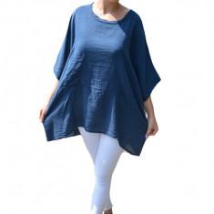 Bluza Avelia, cu croi lejer si asimetric, nuanta bleumarin, 50, 52, 54, 56, 58
