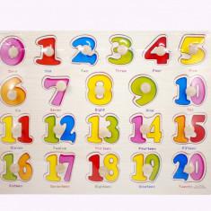 Tabla din lemn cu cifre colorate 1 - 20, jucarie educativa pentru copii A3002