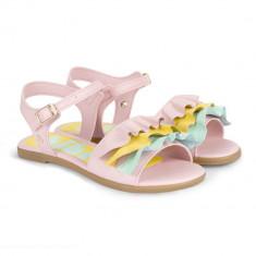 Sandale Fete Bibi Fresh Roz Cu Volane Colorate
