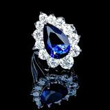 Inel placat cu Aur 18K si Diamante, Alessandra Platinum & Blue