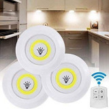 Set 3 Lampi COB LED 3W pe Baterii, cu Telecomanda