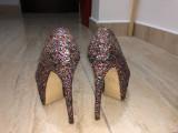 Pantofi cu toc, 37, Multicolor, Cu platforma