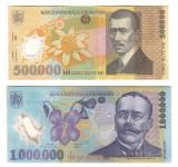 SV * Romania LOT BNR  POLIMER 500000 LEI 2000  + 1000000 LEI 2003 / 2004   +/-XF