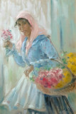 """Pictură """"Florăreasă"""", pastel de Ghelman Lazăr, Portrete, Pointillism"""