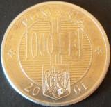 Moneda 1000 LEI - ROMANIA, anul 2001   *cod 694 - EXCELENTA, Aluminiu