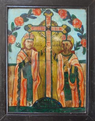 Sf. Constantin și Elena - Icoană pictată pe sticlă foto