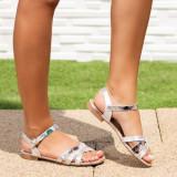 Sandale dama cu talpa joasa argintii Albrisa