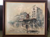 Pictura in ulei,tehnica spaclu,peisaj citadin Paris,Moulin Rouge