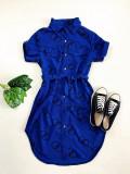 Cumpara ieftin Rochie ieftina casual stil camasa albastru si negru cu cercuri si cordon in talie