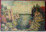 Peisaj cu ruine in stil romantic, pictura veche, ulei pe panza