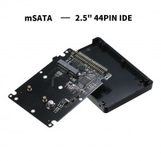Adaptor convertor SSD mSATA la IDE cu carcasa / rack NEGRU