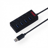 HUB USB 3.0 cu 4 porturi cu switch, Roline 14.02.5046