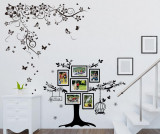 Sticker cu 6 rame foto Butterfly Vine and Photo Frame Birdcage - Wallplus, Negru