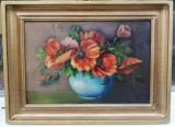 Tablou Natura statica Vas cu Maci pictura ulei 42x57 cm