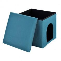 Scaun suport pentru picioare, Puff, - rabatabil cu compartiment pentru depozitare si vizuina pentru animalele mici (catei si pisici) 38x38cm turcoaz