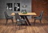 Cumpara ieftin Set masa extensibila din MDF si metal Ferguson Stejar / Negru + 4 scaune tapitate cu stofa K369 Gri inchis / Negru, L160-220xl90xH75 cm