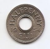 Fiji ½ Penny 1954 - Elizabeth II, Cupru-nichel,, 21.1 mm KM-20