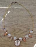 Colier sticla manuala, cristal Cehia si cupru