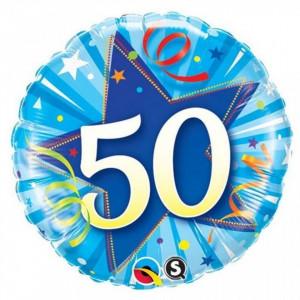 Balon aniversar 50 ani bleu din folie metalizata 43cm