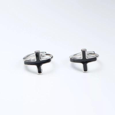 Cercei baieti cercei fete toarte rotunzi cu cruce silver cu negru foto