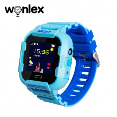 Ceas Smartwatch Pentru Copii Wonlex KT03 cu Functie Telefon, Localizare GPS, Camera, Pedometru, SOS, IP54 - Albastru, Cartela SIM Cadou