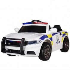 Masinuta electrica de Politie cu sirena, girofar si megafon, alb