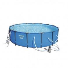 Piscina rotunda cu scara Bestway Steel Pro Max Pool, cadru metalic, pompa de filtrare, 457x107 cm Mania Tools