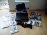 Consola Ps3 Slim 160 Gb, 2 manete, 13 jocuri, cablu alimentare, cablu hdmi.