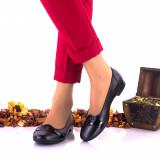 Pantofi dama casual din piele naturala si piele lacuita NA146, 35 - 40, Negru