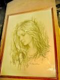 C337-Tablou creion Chip de frumoasa tanara G. CONANTIN., Portrete, Ulei, Realism
