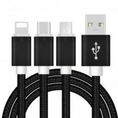 Cablu Incarcator panzat 3 In 1 Iphone 5/6 + Micro Usb + Type C pt Telefon Tableta