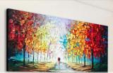 Tablou Peisaj abstract Tablou indragostiti in ploaie pictat manual 100x50cm, Ulei