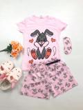 Pijama dama ieftina bumbac scurta cu pantaloni roz si tricou roz cu imprimeu Love Bunny